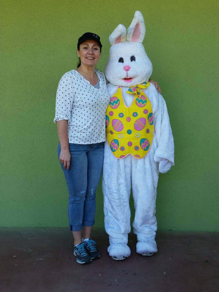 Easter Bunny Lisa with Rhonda at Angels of Grace